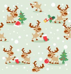 christmas deer seamless pattern vector image