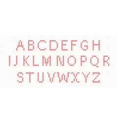 Christmas Knitted Font in red color vector