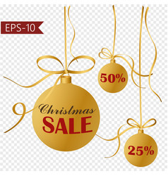 collection of 3 gold christmas balls hanging on vector image