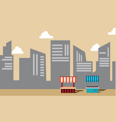 Collection of street stall with building vector