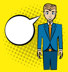 comic man pop art bubble speech vector image