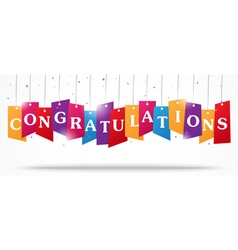Congratulations design on label with confetti vector