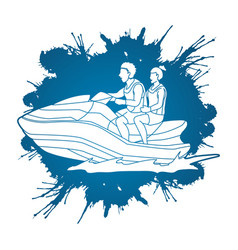 Couple riding jet ski vector