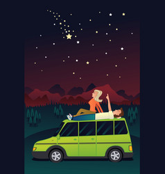 Couple watching the stars in the sky vector