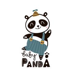 Cute cartoon baby panda childish print vector