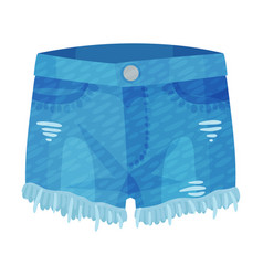 Denim blue ripped shorts with side pockets and as vector