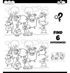 differences coloring game with farm animal vector image