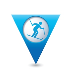 Downhill skiing icon on blue triangular map vector