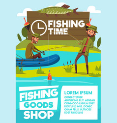 Fisher men poster for fishing shop vector