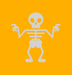 Flat icon on background halloween skeleton vector