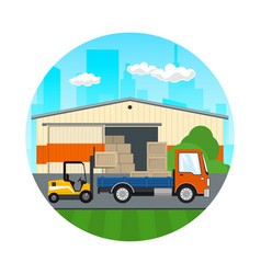 forklift loads or unloads boxes from a truck vector image