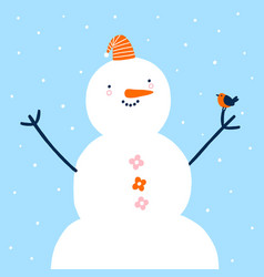 funny snowman with a cute little bird vector image