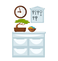 Glossy chest of drawers wooden clocks and keys vector