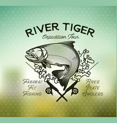 Golden dorado fishing emblem on blur background vector