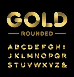 Golden rounded font alphabet with gold effect vector image