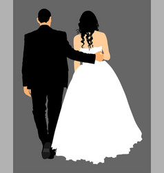 groom and bride wedding day just married couple vector image