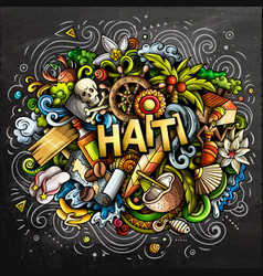 haiti hand drawn cartoon doodles vector image