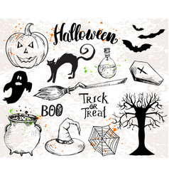 halloween elements and quotes vector image