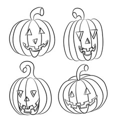 Halloween pumpkins collection various types back vector