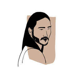 Hand draw outline portrait an asian man vector