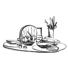 Hand drawn wares romantic dinner serving food vector