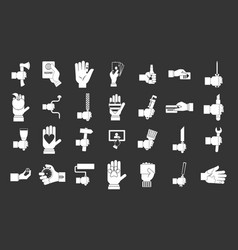 hand object icon set grey vector image