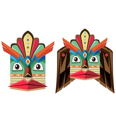 Handcraft mask made of wood vector