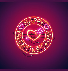 happy valentines day with arrowed heart neon sign vector image