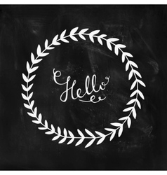 Hello card with hand lettering and nature wreath vector