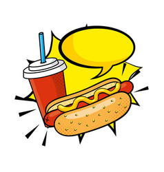 hot dog with soda vector image