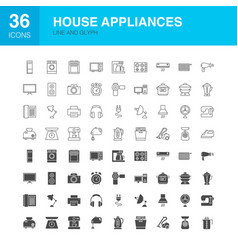 House appliances line web glyph icons vector