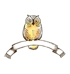 image of an owl with college ribbon vector image