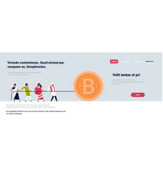 indian people team pulling rope bitcoin mining vector image