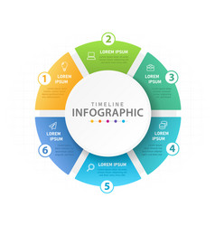 infographic 6 steps mindmap diagram with pie chart vector image