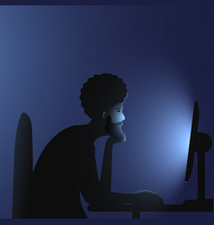 Internet addiction a black man with an afro vector