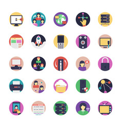 Internet flat icons collection vector