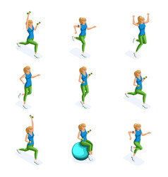 isometric athlete healthy lifestyle spring im vector image