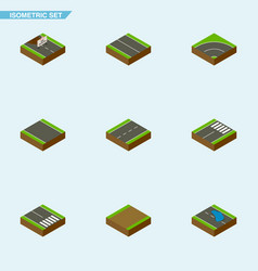 isometric way set of driveway repairs pedestrian vector image