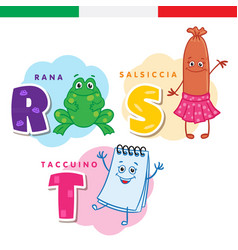 Italian alphabet frog sausage notepad vector