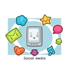 Kawaii social media gadgets funny card Doodles vector