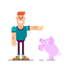 Man and piggy bank vector