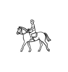 Man riding horse with saddle hand drawn icon vector