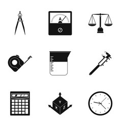 Measure tools icon set simple style vector