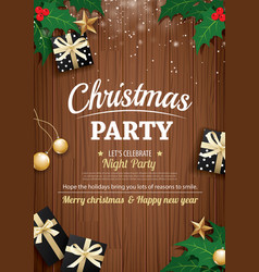 merry christmas party and gift box on wooden vector image