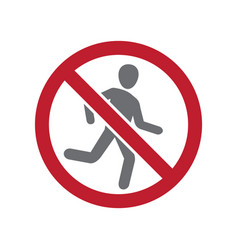 No running allowed sign on white background for vector