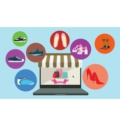 Online shopping buy shoes laptop ecommerce vector