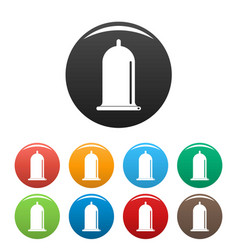 open condom icons set color vector image