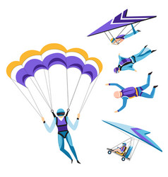 Parachutist and paraglider skydiving isolated vector