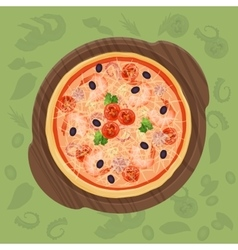 Pizza on the cutting board Pizza menu concept vector image