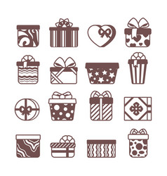present gift packages glyph icons set vector image